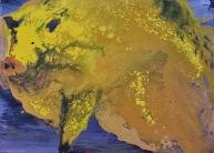 Gold pig, acrylic on canvas, 80 x 40cm