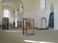 "Barbora Kachlíková Instalation view of exhibition ""No sect. They are artists."" with Anssi Uusnäkki, Cemetery church, Vyškov, CZ"