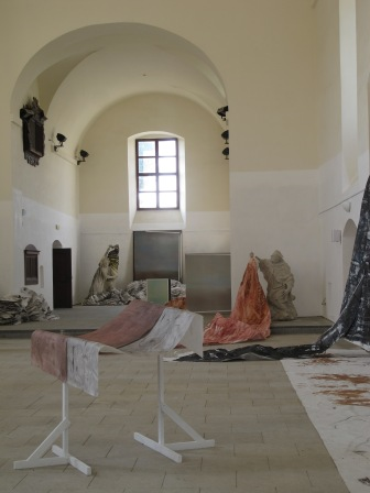 "Instalation view of exhibition ""No sect. They are artists."" with Anssi Uusnäkki, Cemetery church, Vyškov, CZ"