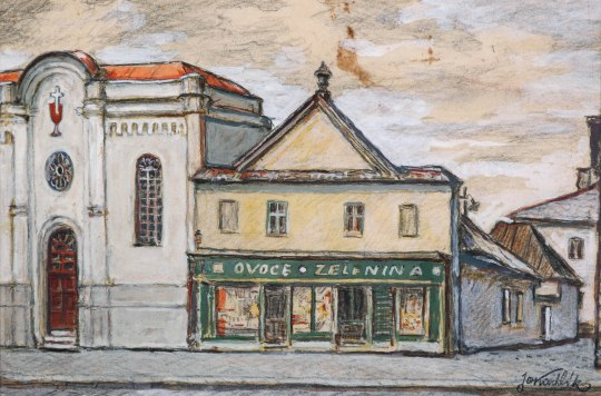 Husitský kostel Vyškov, kolorovaná kresba, 33 x 21 cm, 40. léta