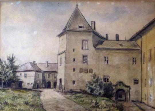 Muzeum Vyškovska, kolorovaná kresba na papíře, 39 x 29 cm, 40.léta