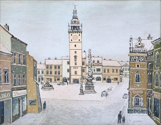 Vyškovské náměstí, kombinovaná technika, 36 x 27 cm, 70. léta